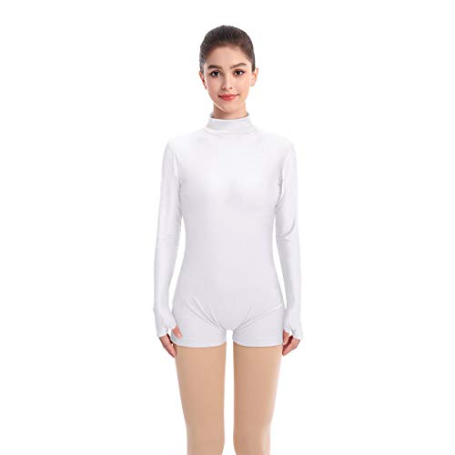 Adult Shiny Metallic Spandex Mock Turtleneck Dance Costume Sexy One Piece Leotard Bodycon Clubwear Catsuit Gold Bodysuit for women High Neck Seamless Long Sleeve Tops with White Boy Shorts Set S