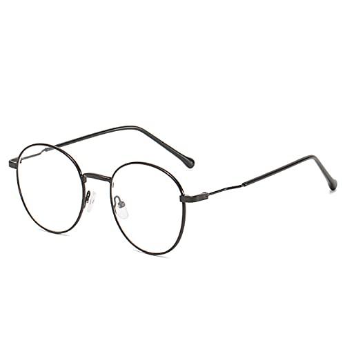 Aoliao Clásico redondo metal marco gafas azul bloqueo claro lente gafas para hombres mujeres