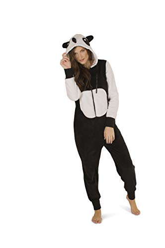 Totally Pink Women's Plush Warm Cozy Character Adult Onesies for Women One-Piece Novelty Pajamas (Large, Panda)