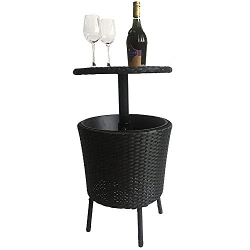 Mesa Nevera para jardín Cool Bar, Cool Bar ajustable para patio 3 en 1 Muebles de patio al aire libre Mesa de centro de cóctel para uso en la piscina de la cubierta de la fiesta al aire libre en el
