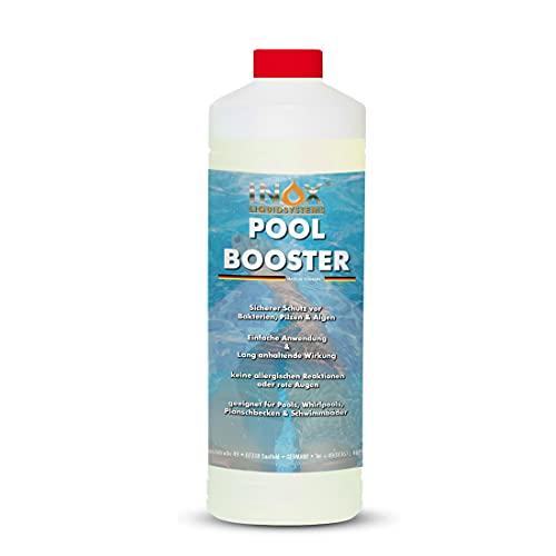 INOX® Pool Booster - 1L - Effektiver Algenvernichter Pool - Flüssiges Algizid für Pool - desinfizierendes Reinigungsmittel gegen Algen - Hochwirksame Pool Chemie