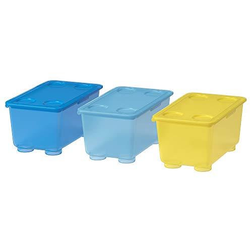 Ikea Glis Caja con Tapa, Azul, Blanco y Verde, 17x10x8 cm, 3 Unidades