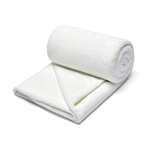 AMY-ZW Flannel Fleece Sofa Blanket Super Soft Bed Throw Fluffy Fabric Quilts For Couch Settee Chair Armchairs Travel Pushchair Xmas Decorative Gifts-White_120x145cm