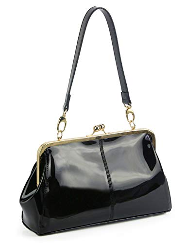 Vintage Kiss Lock Handbags Shiny Patent Leather Evening Shoulder Tote Bags with Chain Strap (Black)