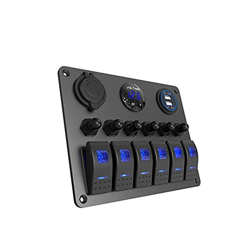 ZHENGJI Pantalla LED de voltaje rojo, azul, verde, 5 V, 4,2 A, cargador USB+encendedor de cigarrillos, 6 pandillas, interruptor basculante, barco, camión, coche, (color: verde, 6 pandillas)