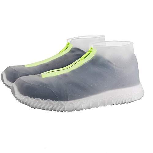 ATOFUL Reusable Silicone Waterproof Shoe Covers, Silicone Shoe Covers with Zipper No-Slip Silicone Rubber Shoe Protectors for Kids,Men and Women (Transparent, XL)