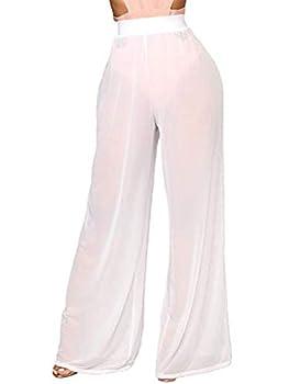 N / D Women See Through Sheer Mesh Pants Beach Swimsuit Bikini Bottom Cover up Party Club Elastic High Waist Wide Leg Pants  White S