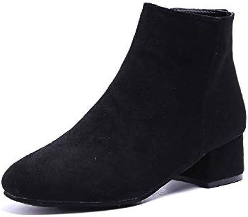 HOESCZS Chaussures Femmes Chaussures Femmes Hautes Aider Les Bottes à Talons Aiguilles De Martin en Flanelle à La Mode Sauvage