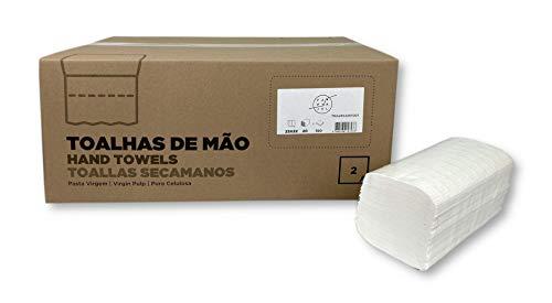 Toalla Secamanos Zig-zag 23x22, Celulosa Virgen, 2 capas, 20 Paquetes de 150 Unidades