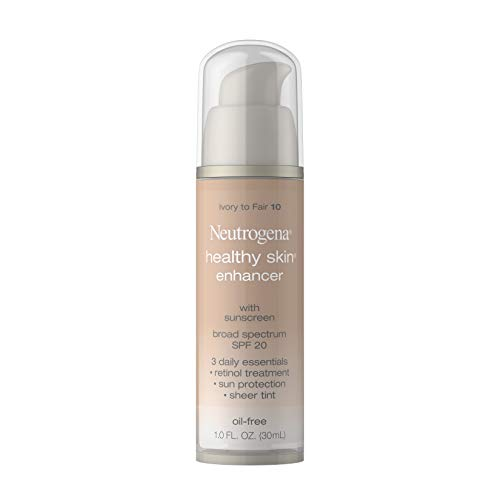 Neutrogena Healthy Skin Enhancer Sheer Face Tint with Retinol & Broad Spectrum SPF 20 Sunscreen for Younger Looking Skin, 3-in-1 Daily Enhancer, Non-Comedogenic, Ivory to Fair 10, 1 fl. oz