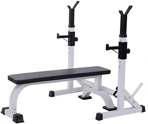 Cnley Combinación de una sola pieza prensa de banco y banco de pesas ajustable para sentadillas, para el hogar, fitness, levantamiento de pesas (color: blanco, tamaño: 105 x 58,5 x 42 cm)