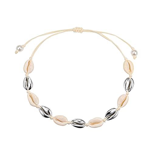 Collar de regalo Natural Verano Boho Collar Playa Colgante Clavícula Cadena Conchas de Mar Collar(06)