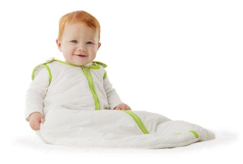 Baby Deedee Sleep Nest Sleeping Sack, Warm Baby Sleeping Bag fits Newborns and Infants, White Lime Green, Medium 6-18 Months