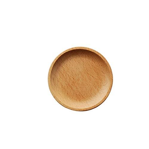 Platos De Postre Placa de servicio de madera, madera cuadrada y bandeja de senderos redondos, postre de fruta bocadillos de caramelo plato de caramelo plato de madera Plato Llano