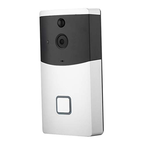 WiFi Video Doorbell Camera Movement Detection Wide Angle Wireless Door Security Battery Camera Night Vision Video Intercom HD 6 Wave Lens Security Home Camera (Silver)