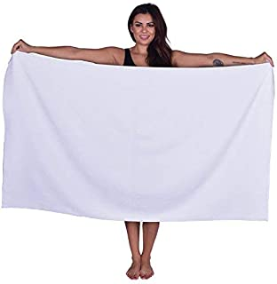 La Calla Turkish Beach Towel - Oversized 35 Inches by 60 Inches Bath Towels - 100% Terry Velour Cotton - Multipurpose Use for Beach Bath and Spa - Eco Friendly Material (White, 1)