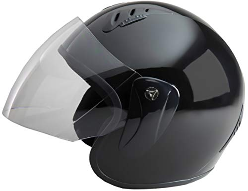 Fuel Helmets SH-WS0017 Unisex-Adult Open Face Helmet with Shield (Gloss Black, X-Large)
