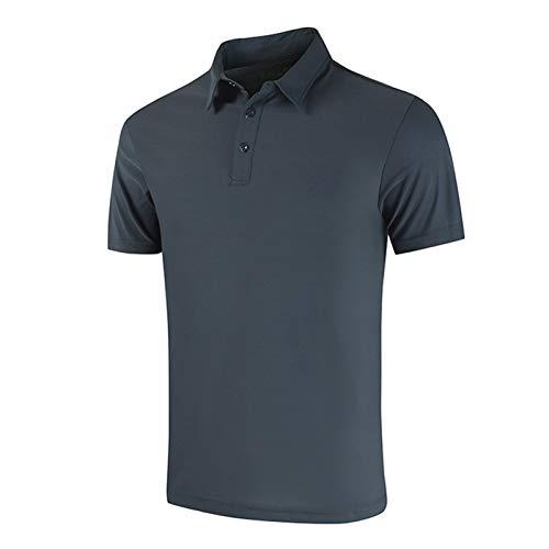 KJKJ 2021 Kurzarm Poloshirt für Männer - Sommer Revers Golf Poloshirt Männer ua Sporttraining Fitness Schnell trocknen Lose Casual Top XL-5XL Blue-XXXXL