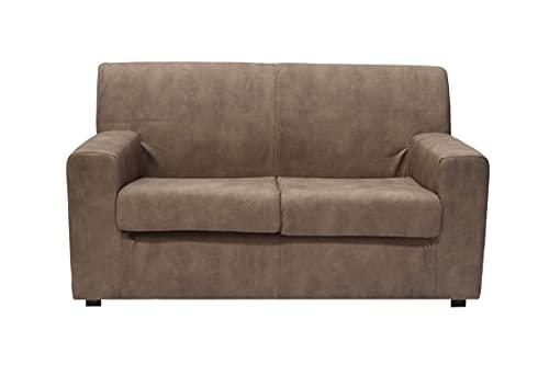 divano 2 posti in pelle Divano a 2 posti in tessuto simile all'ecopelle color tortora