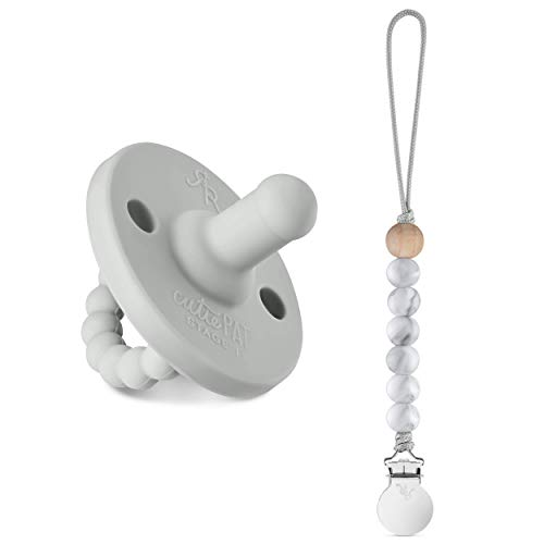 Ryan and Rose Cutie PAT Pacifier Grey Stage 1 and Marble Charley Maxi Pacifier Clip