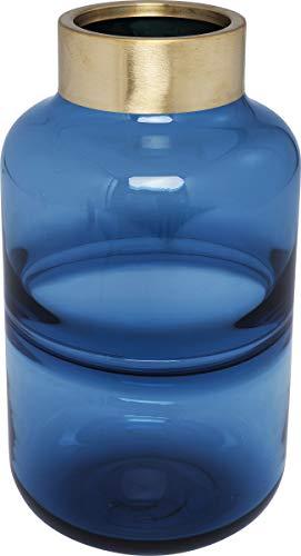 Kare 61780 Vase Positano Belly Blau 28cm, Glas, Messing lackiert
