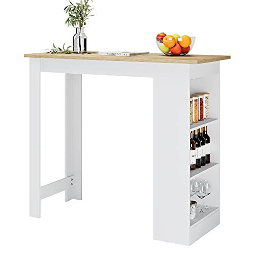 """Bar Table with 3 Storage Shelves, 47.2"""" Pub Desk Table Counter Height Kitchen Island for Kitchen Dining Room, Oak & White"""