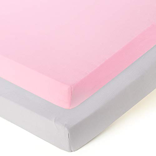 Fitted Playard Sheets - 2 Pack Mini Crib Sheet Set,Pack n Play Mattress Cover, Stretchy Ultra Soft,Pink/Grey