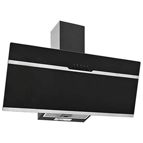 pedkit Campana Extractora RGB de LED Extractor de Cocina Campana de Pared Acero INOX. Vidrio Templado Negro 90cm