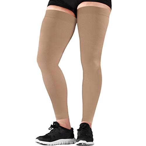 Mojo Compression Stockings Thigh Hi Leg Sleeve Graduated 20-30mmHg Medical Recovery for Quads Beige XL