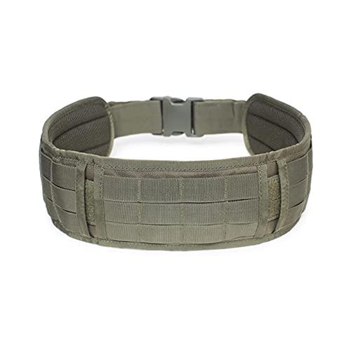 ZHOUSAN Cinturones de Combate Estilo ejército Molle Cinturón táctico CS de liberación rápida para Exteriores Equipo para Exteriores Multiusos Campo del Ventilador del ejército Cinturón Ancho-Verde