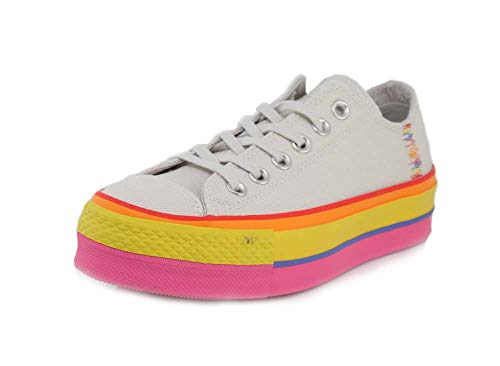 Converse Womens Chuck Taylor All Star Starlift Rainbow Platform Low Top Vintage White/Pale Putty Sneaker - 8.5