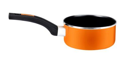 Monix Mandarina - Cazo 16 cm de acero esmaltado naranja con antiadherente Teflon® Classic.