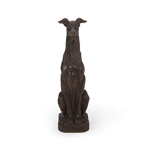 Christopher Knight Home 312647 Brandbury Greyhound Dog Statue, Dark Brown