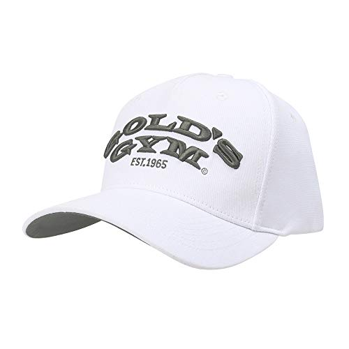 Golds Gym Unisex Gold's Gym Gghat096 Embroidered Text Curved Peak Cap, White, One Size Baseballkappe, Weiß, Einheitsgröße