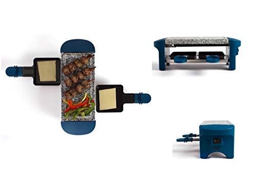 Raclette Grill 2 Personen Grillplatte Tischgrill Elektrogrill Heißer Stein (2 Pfännchen, Antihaftbeschichtung, Blau)