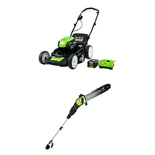 Greenworks PRO 21-Inch 80V Cordless Lawn Mower with PRO 9' 80V Cordless Pole Saw Battery Not Included PS80L00 -  Sunrise Global Marketing, LLC