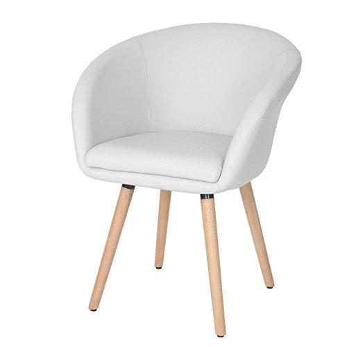 Chaise de Salle à Manger Malmö T633, Fauteuil, Design rétro des années 50 - Similicuir, Blanc