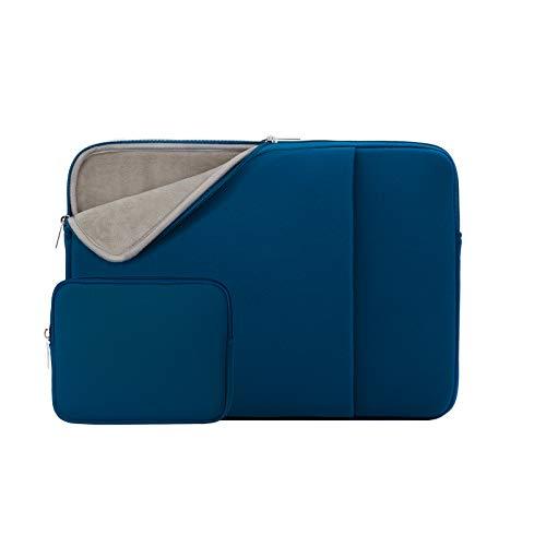 RAINYEAR 14 Zoll Laptop Hülle Laptophülle Laptoptasche Gepolsterte Schutzhülle mit Fronttasche & Zubehör Tasche Kompatibel für 14 Notebook Tablet Computer Chromebook(Marineblau,Aktualisierte Version)