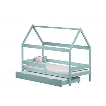 Children's Beds Home - Betthimmel, Einzelbett in Hausform mit Ausziehbett – Betty – 180 x 80 cm, türkis, 12 cm hohe Widerstandsfähigkeit Latex