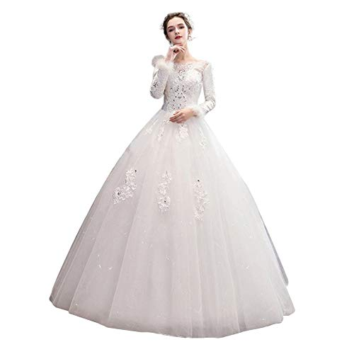 Bride Winter Wedding Dress Warm Lace Long Sleeve Word Shoulder Dress Pretty Gown (Color : White, Size : S)
