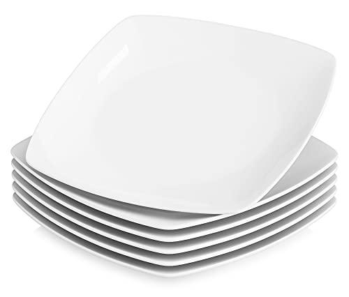 MALACASA, Série Julia, 6pcs Assiettes Plates Porcelaine, Assiette à Dinner Blance 9.25', Assiettes Plats de Services pour 6 Personnes
