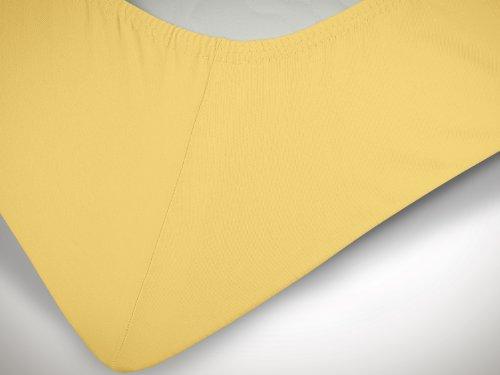 npluseins klassisches Jersey Spannbetttuch – erhältlich in 34 modernen Farben und 6 verschiedenen Größen – 100% Baumwolle, 70 x 140 cm, gelb - 6