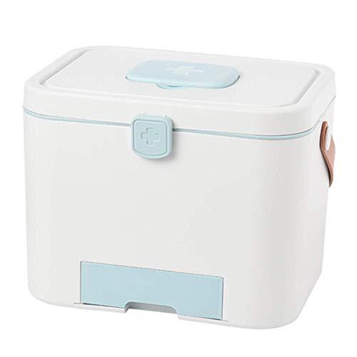 GOXJNG Medizin Box Set Tragbare Medizin-Kasten Haushalt Medical Cabinet Organizer Erste-Hilfe-Kit Speicher-Fall Apotheke mit Deckel for die Reise Camping Büro (Color : Blue)