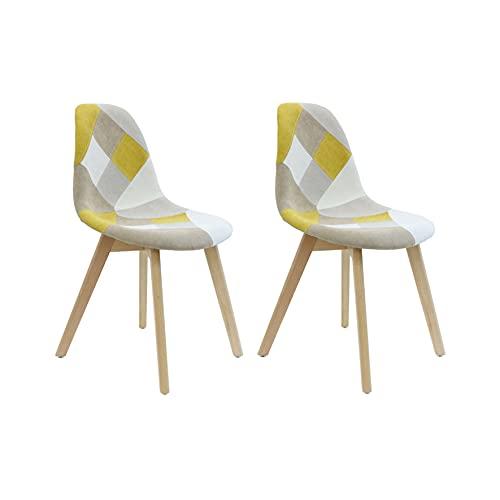 HOME DECO FACTORY Set di 2 sedie Patchwork, Faggio, Giallo, 58x86.5x47 cm