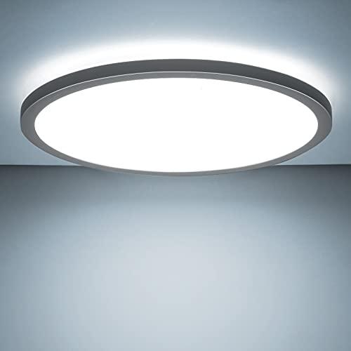 LED Deckenleuchte Rund, BIGHOUSE 18W 1600LM Flach Deckenlampe, 6000K Kaltesweiß für Badezimmer, Wohnzimmer, Balkon, Bad, Flur, Küche, Ø295×25mm