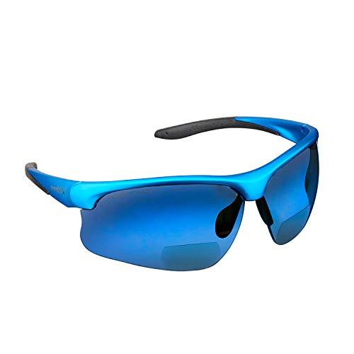 voltX \'Constructor Ultimate\' Bifokale Schutzbrille mit Lesehilfe (Blauer Rahmen, blau verspiegelte Gläser +2,0 Dioptrien) CE EN166FT-zertifiziert – Bifokale Rad-/Sportbrille Premium – UV400 Linse
