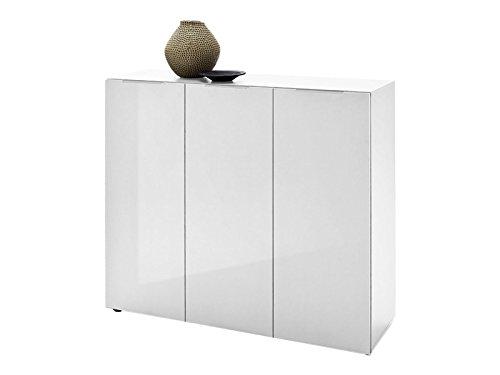 Kommode Schrank Highboard Sideboard Anrichte Beistellkommode Möbel Dartford II (Hochglanz weiß-lackiert)