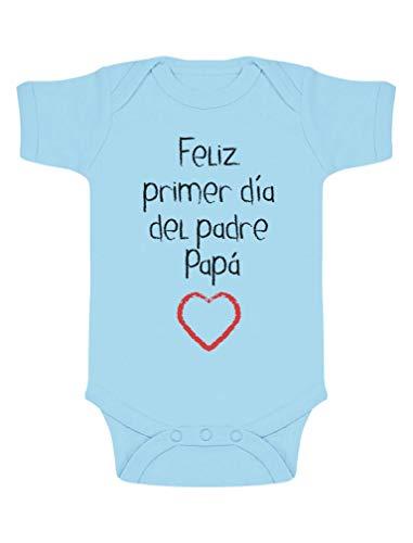 Body de Manga Corta para bebé - Regalo Padre Bebe - Feliz Primer Día del Padre - 0-3 Mes Celeste