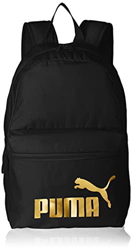 PUMA Phase Backpack Mochilla, Unisex Adulto, Black/Golden Logo, OSFA