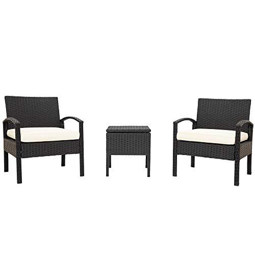 Gartensessel Set: 2 Stühle + 1 Aufbewahrungstisch Kunststoff Polyrattan Dauerhaft Balkonmöbel mit Sitzkissen waschbar für Balkon Terrasse Garten (Schwarz)